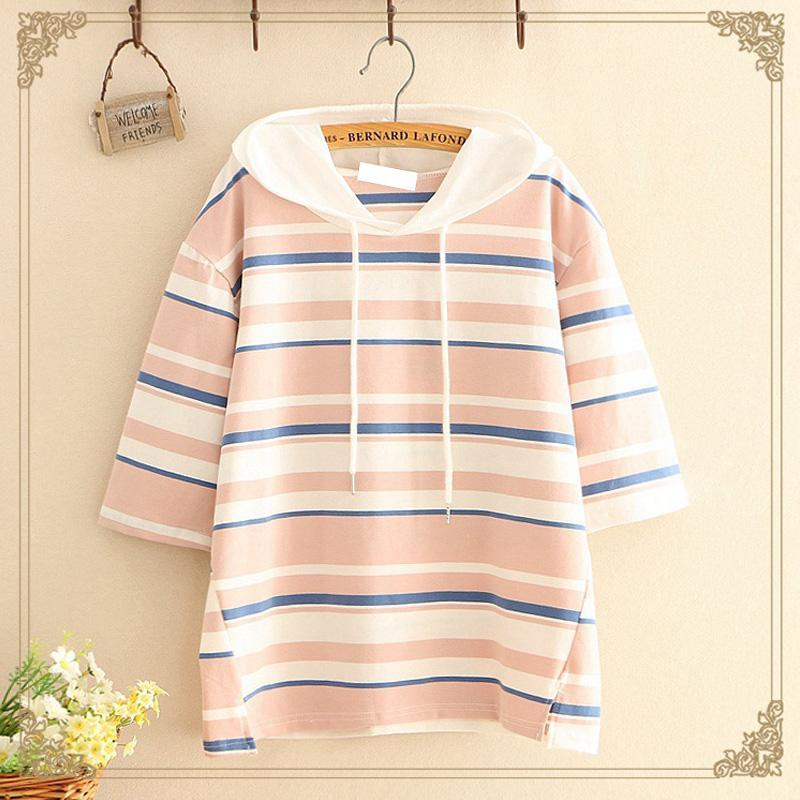 Modakawa T-Shirt Pink Color Block Stripe Print T-shirt Drawstring Hoodie