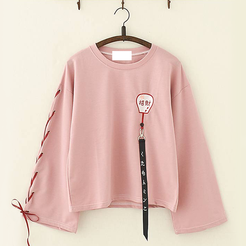 Modakawa T-Shirt Pink Harajuku Lucky Fan Embroidery Strappy Sleeves Top