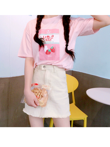 Modakawa T-Shirt Pink Japanese Cute Strawberry Milk T-Shirt