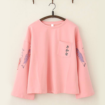 Modakawa T-Shirt Pink Japanese Koi Fish Trumpet Sleeves Top