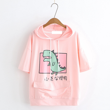 Modakawa T-Shirt Pink / M Dinosaur Front Pocket Hooded T-shirt