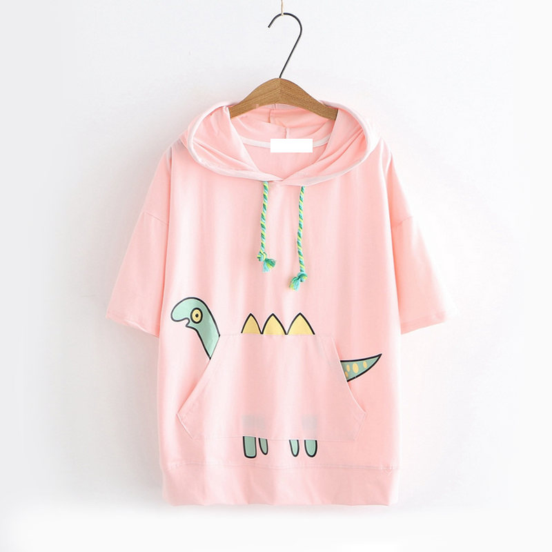 Modakawa T-Shirt Pink / M Dinosaur Print Short Sleeve Hooded T-shirt