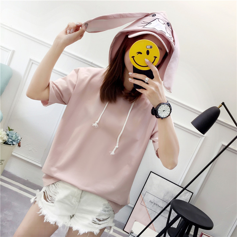 Modakawa T-Shirt Pink / M Kawaii Bunny Ears Short Sleeve Hooded T-shirt
