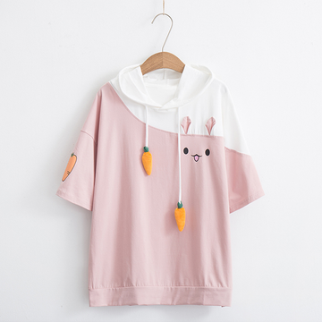 Modakawa T-Shirt Pink / M Rabbit Carrot Drawstrings Cotton Short Sleeve Hooded T-shirt