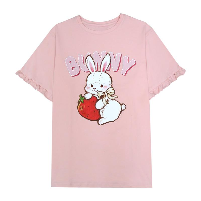 Modakawa T-Shirt Pink / One Size Bunny Strawberry Print Ruffle Oversize T-Shirt