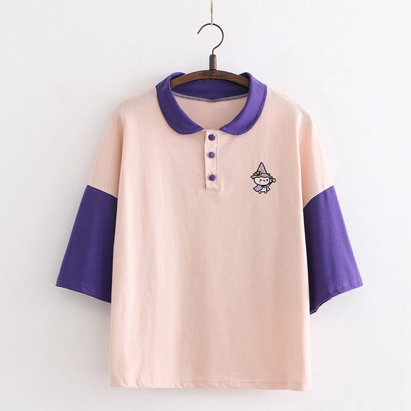 Modakawa T-Shirt Pink / One Size Cartoon Witch Embroidery College Style Polo T-shirt