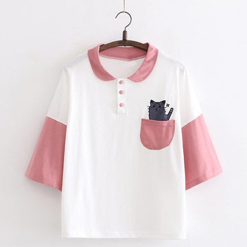 Modakawa T-Shirt Pink / One Size Cat Pocket College Style Polo T-shirt