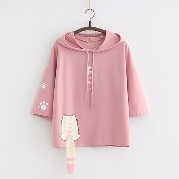 Modakawa T-shirt Pink / One Size Cute Cat Tail Drawstring Hooded T-shirt