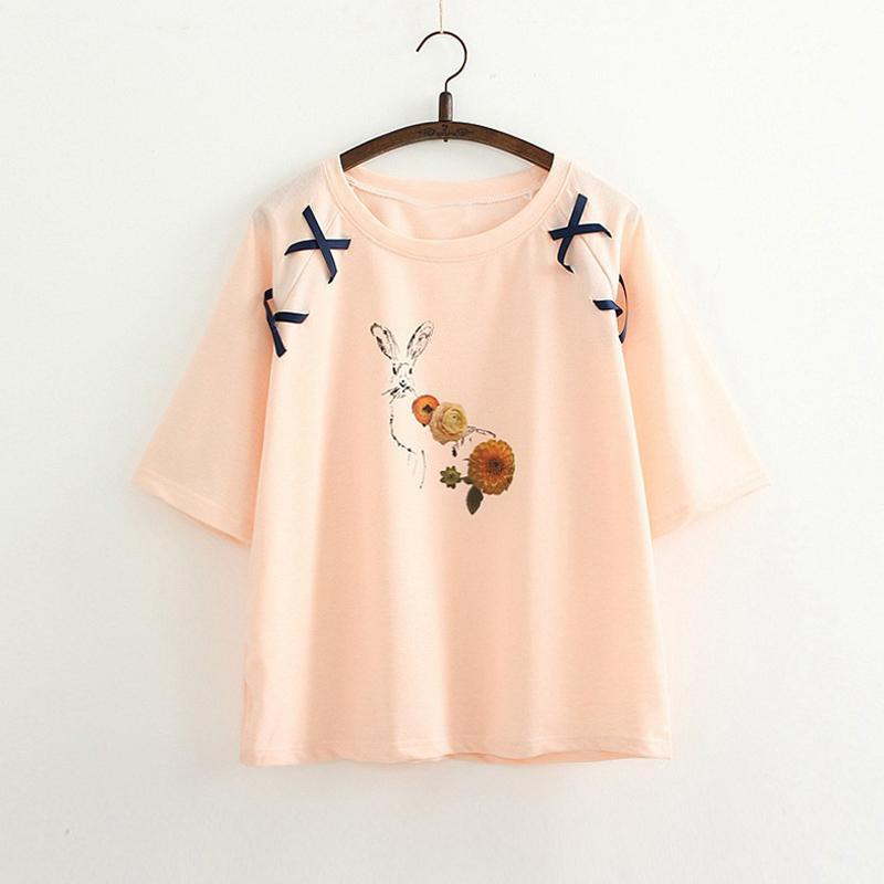 Modakawa T-Shirt Pink / One Size Cute Rabbit Embroidered Loose Lace T-Shirt