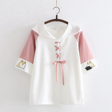 Modakawa T-Shirt Pink / One Size Puppy Print Lace Up Hooded T-shirt