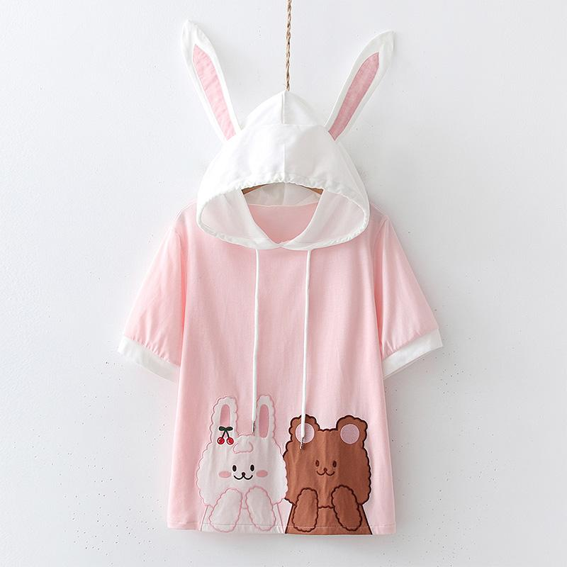 Modakawa T-Shirt Pink / One Size Rabbit Cartoon Print Hooded T-Shirt