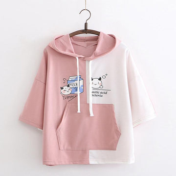 Modakawa T-Shirt Pink / One Size Yummy Milk Cartoon Pocket Hooded T-shirt