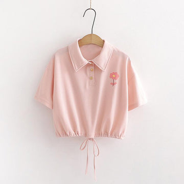 Modakawa T-Shirt Pink / S Flower Print Polo Drawstring Crop Top T-Shirt