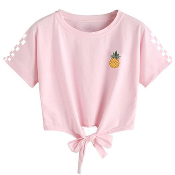 Modakawa T-Shirt Pink / S Short Sleeve Tee Pineapple Print Bow Knot Lace up