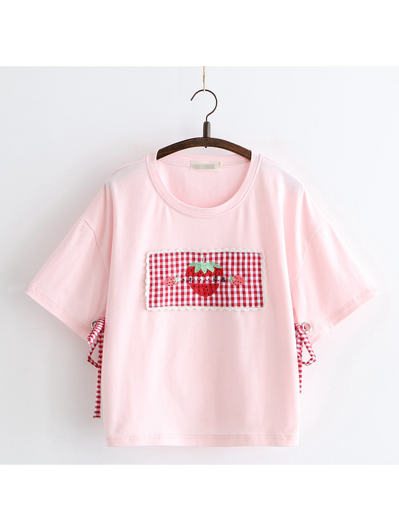 Modakawa T-Shirt Pink Strawberry Patch T-shirt