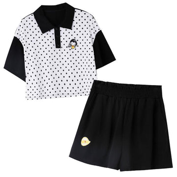 Modakawa T-Shirt Polka Dot Girl Polo T-Shirt High Waist Shorts
