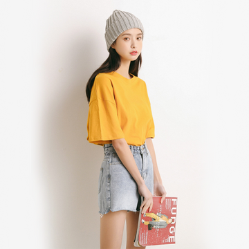 Modakawa T-Shirt Pure Color Oversized T-shirt