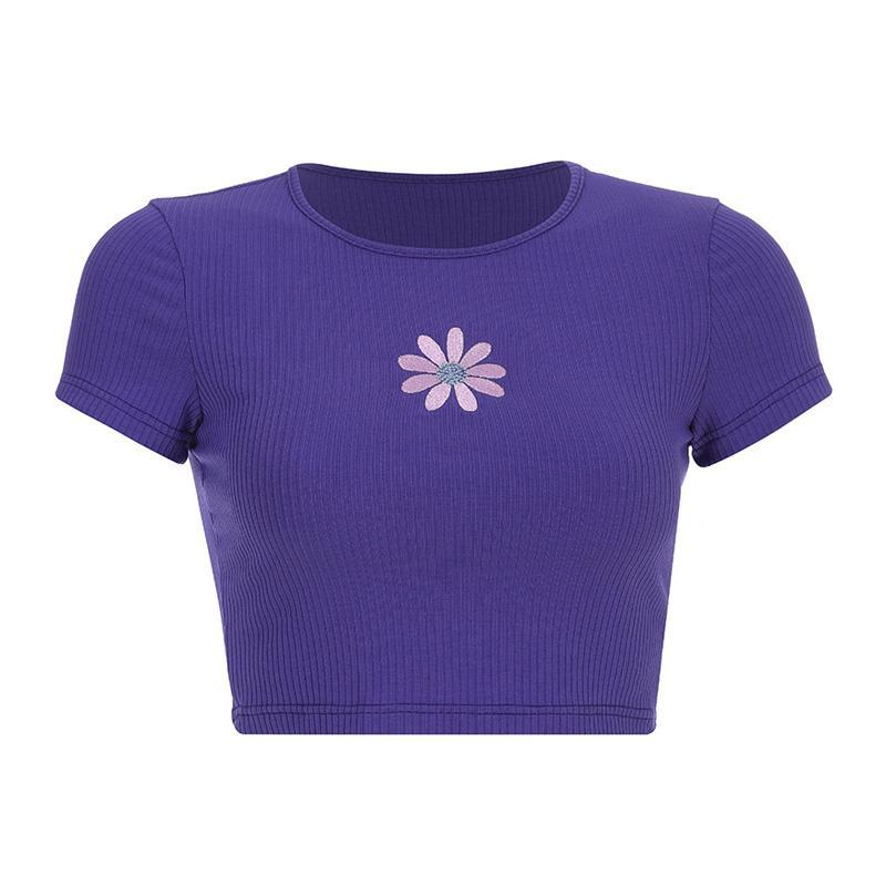 Modakawa T-Shirt Purple / S Daisy Embroidery Crop Top Fit Round Neck T-Shirt