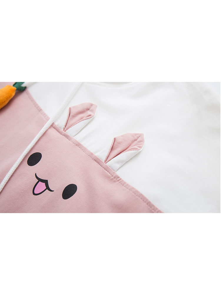 Modakawa T-Shirt Rabbit Carrot Drawstrings Cotton Short Sleeve Hooded T-shirt