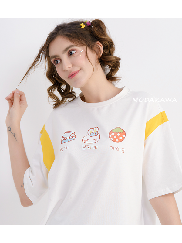 Modakawa T-Shirt Rabbit Strawberry Cat Cartoon T-Shirt