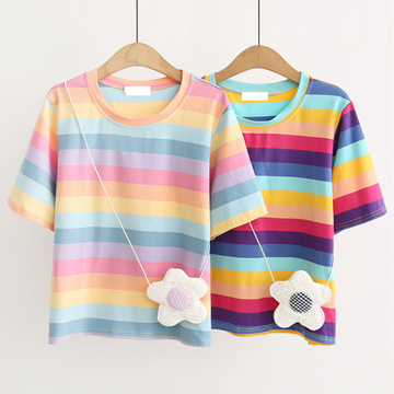 Modakawa T-Shirt Rainbow Stripe T-shirt With Flower Crossbody Bag