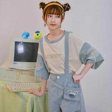 Modakawa T-Shirt REBOOT Letter Embroidery Monster T-Shirt Mini Bag Overalls Shorts