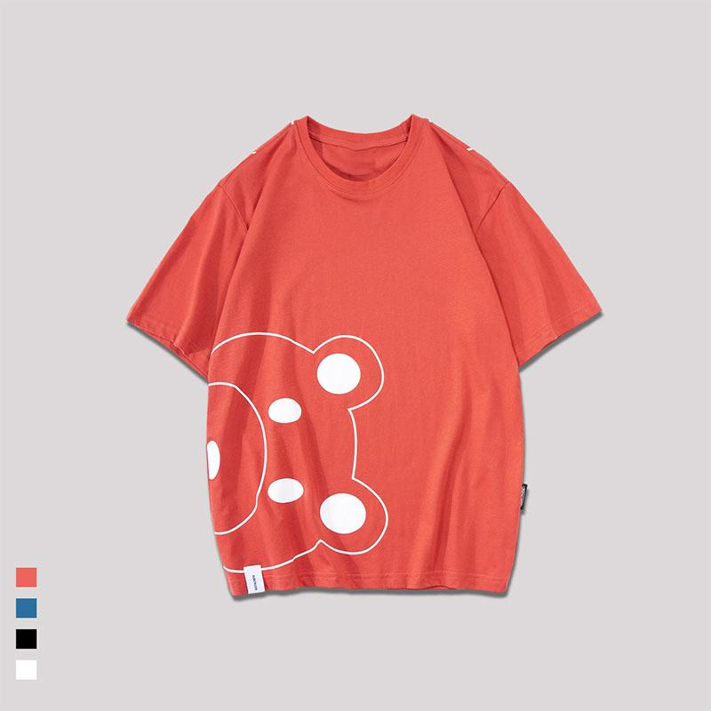 Modakawa T-Shirt Red / M Cute Bear Cartoon Print Loose T-Shirt