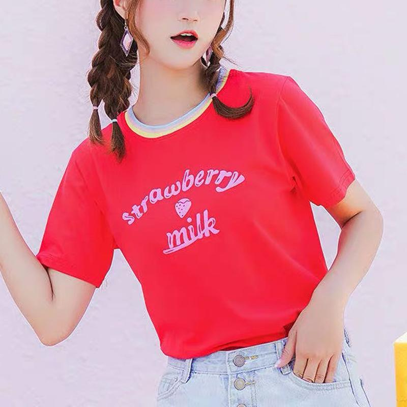 Modakawa T-Shirt Red / S Strawberry Milk Letter Loose T-Shirt