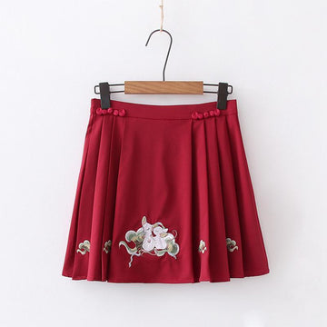 Modakawa T-Shirt Red Skirt / S Vintage Embroidery Frog Button T-Shirt Pleated Skirt Set