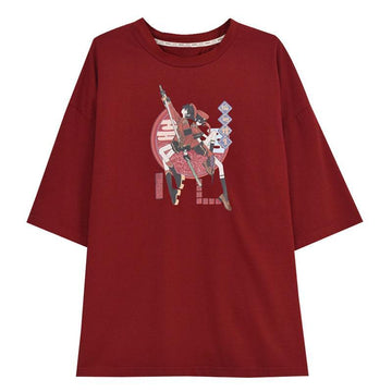 Modakawa T-Shirt Red T-shirt / S Fashion Print Loose Round Neck T-shirt Sweatshirt