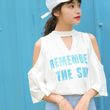 Modakawa T-Shirt REMEMBER THE SKY Letter Print Off Shoulder Bow T-Shirt