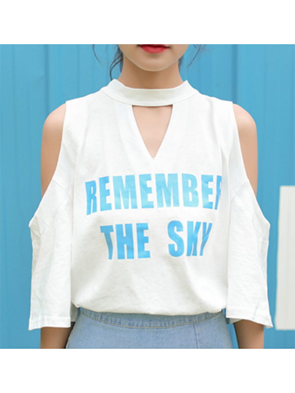 Modakawa T-Shirt REMEMBER THE SKY Letter Print Off Shoulder T-Shirt