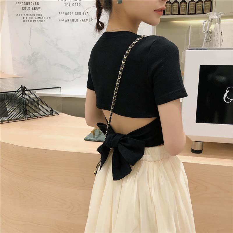 Modakawa T-Shirt S / Black Short Sleeve Tee Backless Lace up Top Bow Knot