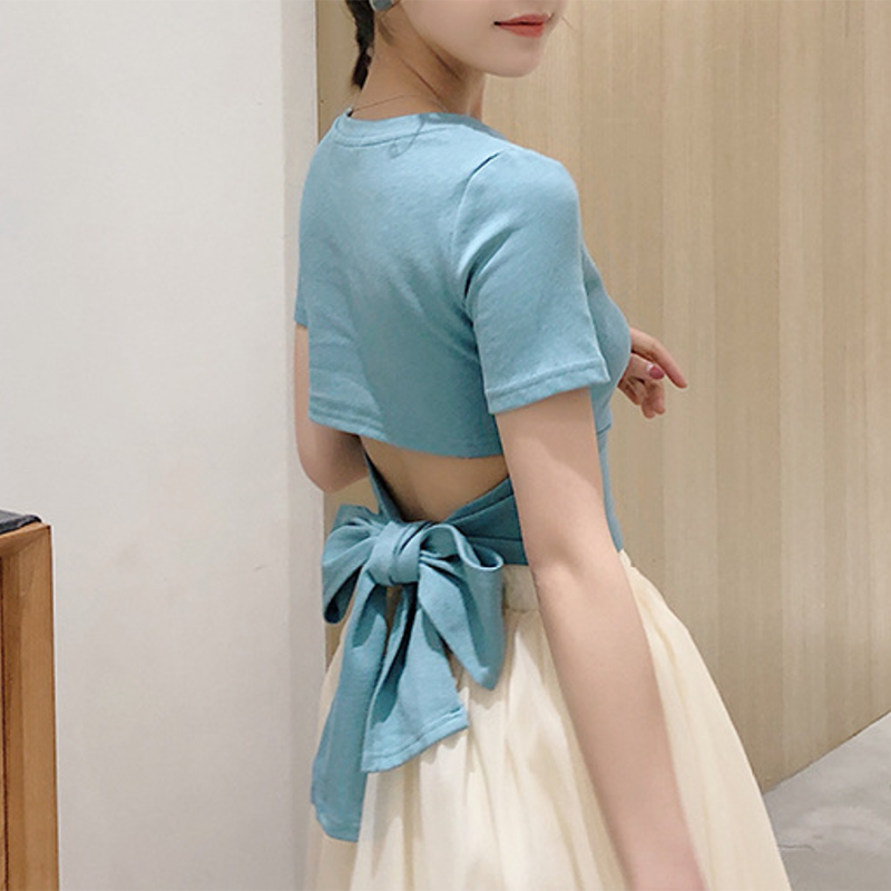 Modakawa T-Shirt S / Blue Short Sleeve Tee Backless Lace up Top Bow Knot