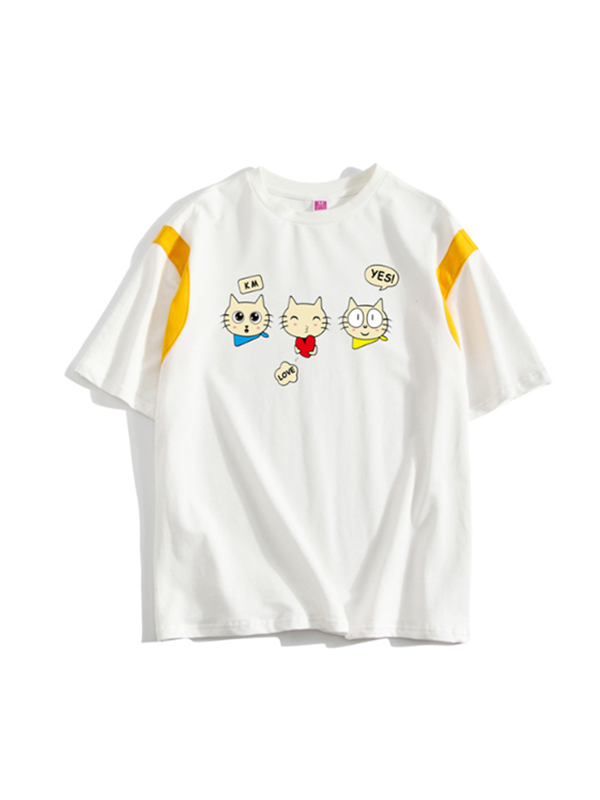 Modakawa T-Shirt S / Cat Rabbit Strawberry Cat Cartoon T-Shirt