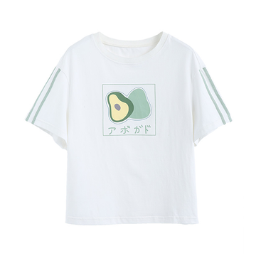 Modakawa T-Shirt S Cute Avocado Print T-shirt