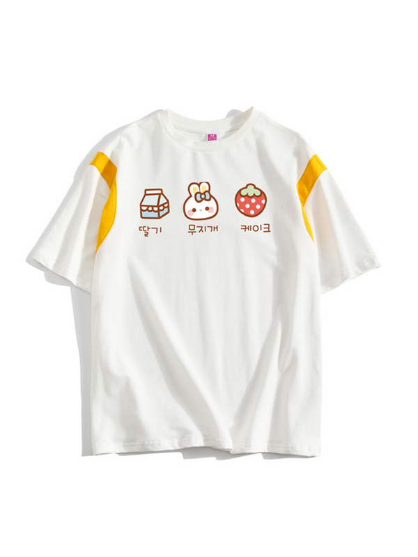 Modakawa T-Shirt S / Strawberry Rabbit Strawberry Cat Cartoon T-Shirt
