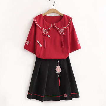 Modakawa T-Shirt Set / M Flower Embroidery Buckle T-Shirt Skirt Set