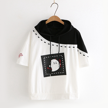 Modakawa T-Shirt Short Sleeve Hoodie Little Devil Print Loose Tee School Girl