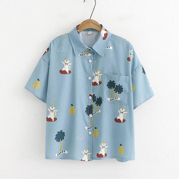 Modakawa T-Shirt Short Sleeve Shirt Cartoon Cat Button Polo Collar Loose