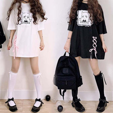 Modakawa T-Shirt Short Sleeve Tee Lace Dark Demon Print Loose Dress
