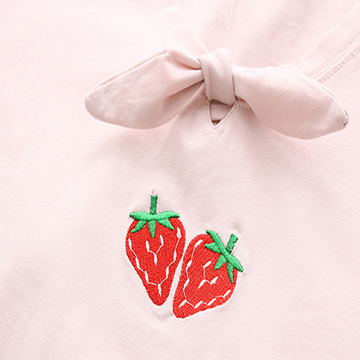 Modakawa T-Shirt Strawberry Embroidery T-Shirt Tee Bow-Knot Mori Girl