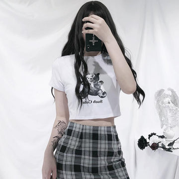 Modakawa T-Shirt SUCH CUTE Letter Bear Print Crop Top T-Shirt