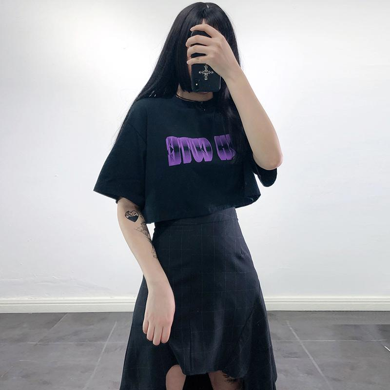 Modakawa T-Shirt SUCH CUTE Letter Print Crop Top T-Shirt