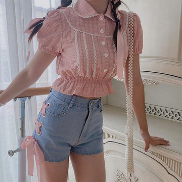 Modakawa T-shirt Sweet Lace shirt Strap High Waist Denim Shorts Jeans