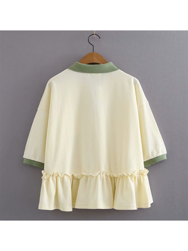 Modakawa T-Shirt Sweet Ruffle T-shirt Cotton Carrot Flower Button Polo Collar