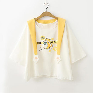 Modakawa T-Shirt T-shirt Lovely T-shirt Shorts Set Fake Two-Piece Tee Puppy Print
