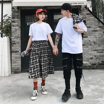 Modakawa T-Shirt T-shirt / M Girlfriend Boyfriend Valentine Plaid Shirt Skirt T-Shirt Set