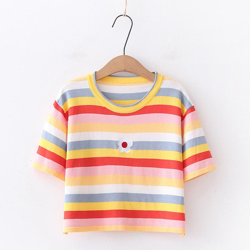 Modakawa T-Shirt T-Shirt / One Size Flower Embroidery Candy Color Stripe T-Shirt Tank Top
