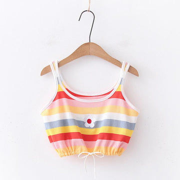 Modakawa T-Shirt Tank Top / One Size Flower Embroidery Candy Color Stripe T-Shirt Tank Top